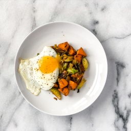 Brussel Sprout Sweet Potato Hash